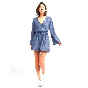 Gap Long Sleeve Wrap Romper in Blue Stripe